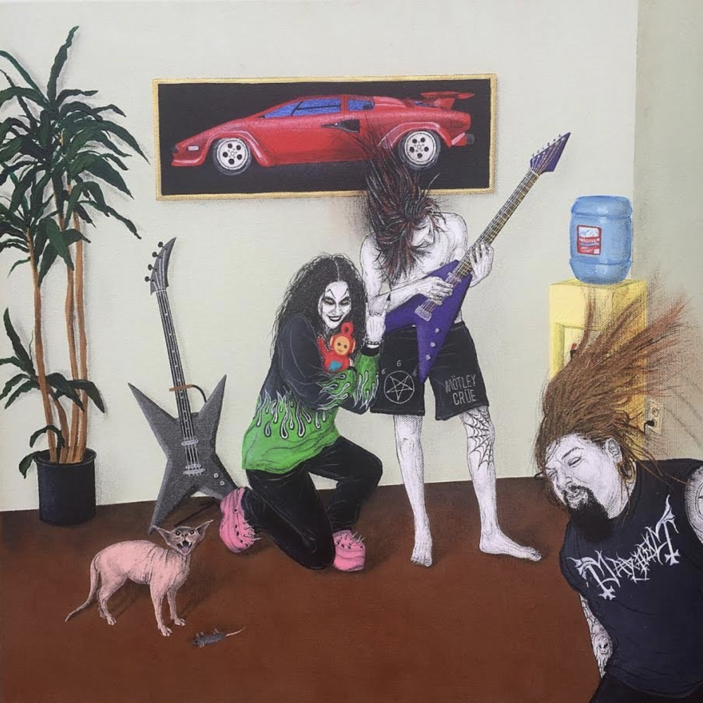 "Justin Hager    - ""Metalheads""  acrylic, oil, ink, color pencil, lacquer, gel pen on canvas - 20"" x 20"""