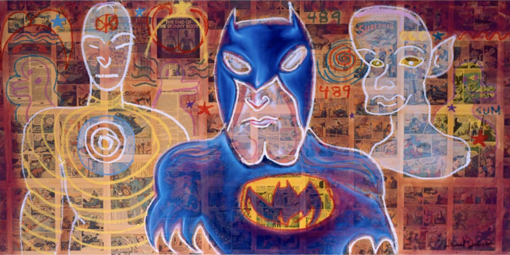 Ron English and Daniel Johnston Superheroes Holy Trinity, 2007   Oil, acrylic, and collage on canvas