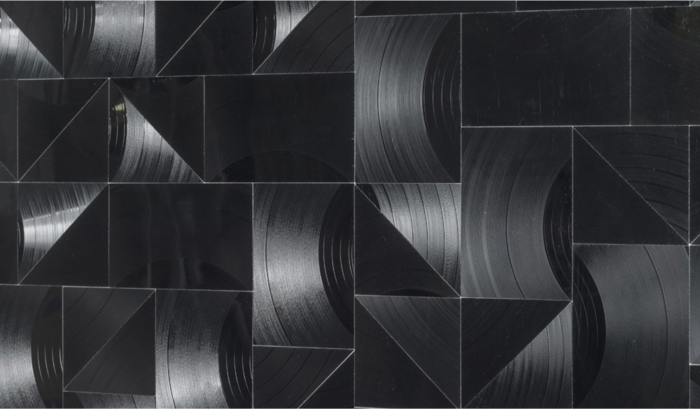 Kleines Feld  (detail), 2018. Cut vinyl records, canvas, wood. 154 x 130 x 4.1 cm | 60.6 x 11.8 x 1.6 in. Courtesy of the artist and Perrotin.