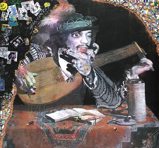 "Stikki Peaches ""A Lute Player (Jimi Hendrix)""  Mixed media on canvas  60"" x 60"""