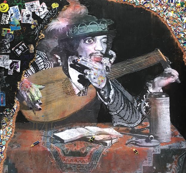 "Stikki Peaches ""A Lute Player (Jimi Hendrix)""  Mixed media on canvas  60"" x 60"""