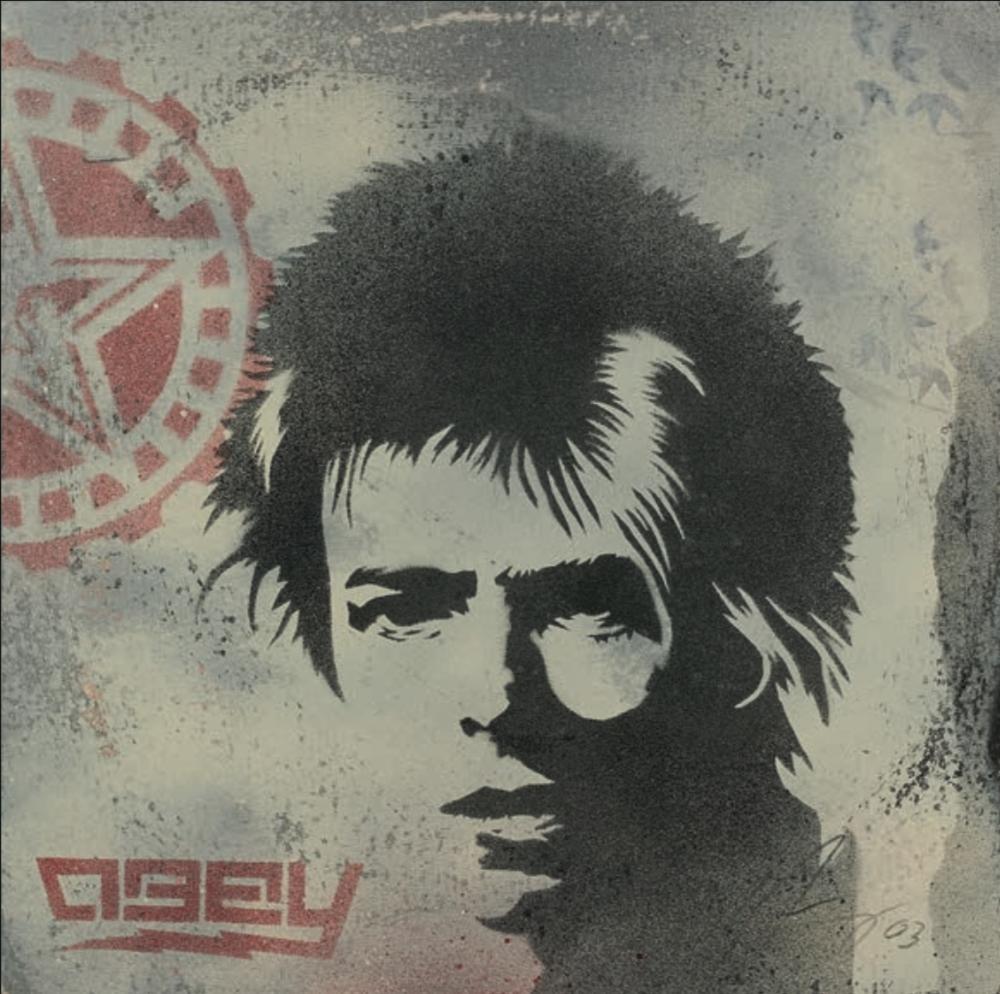 lot n°37, Shepard Fairey,  David Bowie Stencil , 2003 (détail)