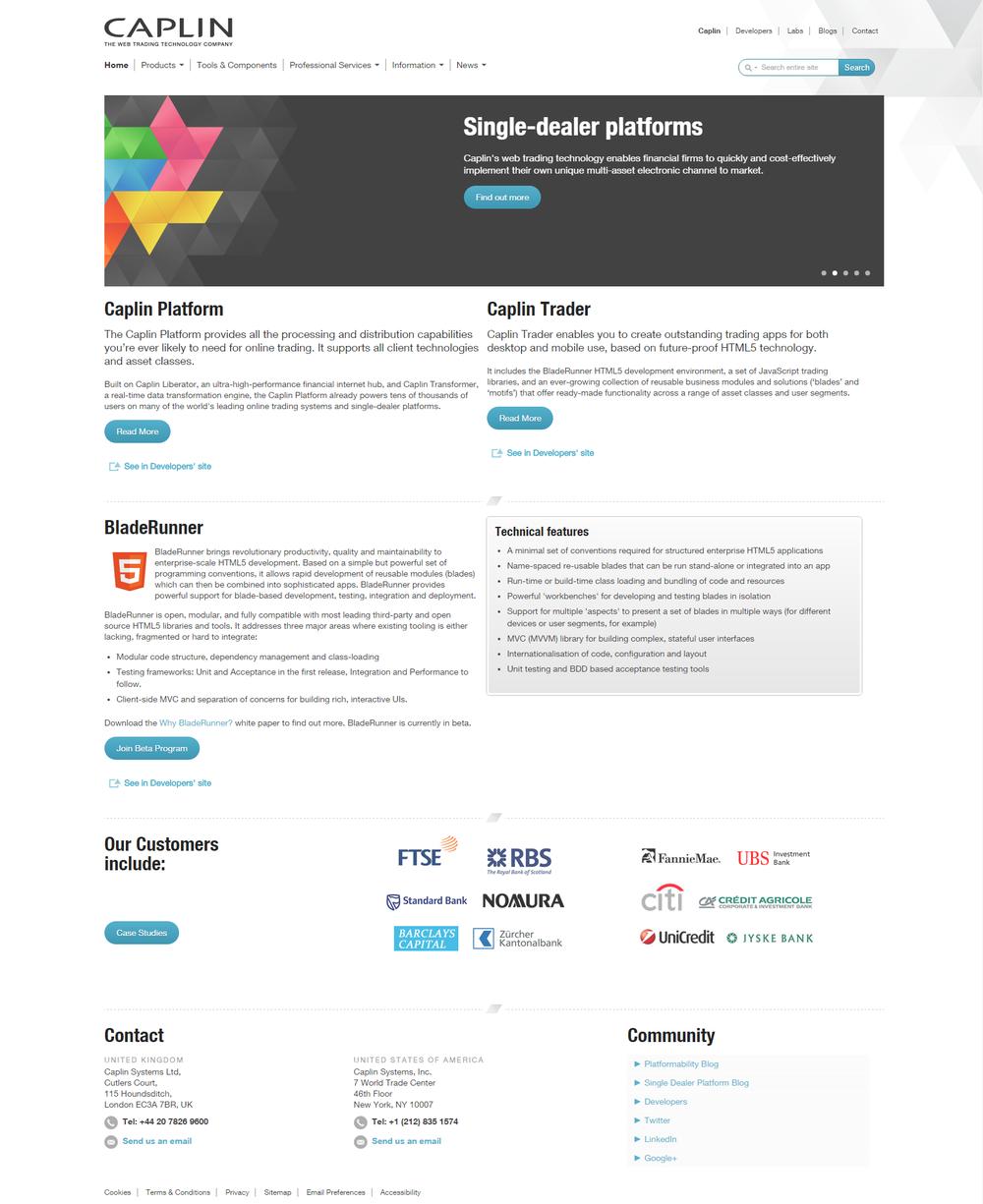 The Caplin homepage in 2013