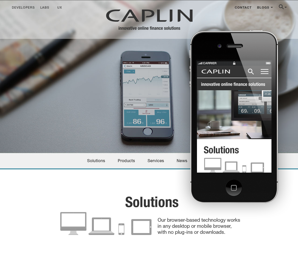 A set of 5 images made into a responsive prototypeof the home page.