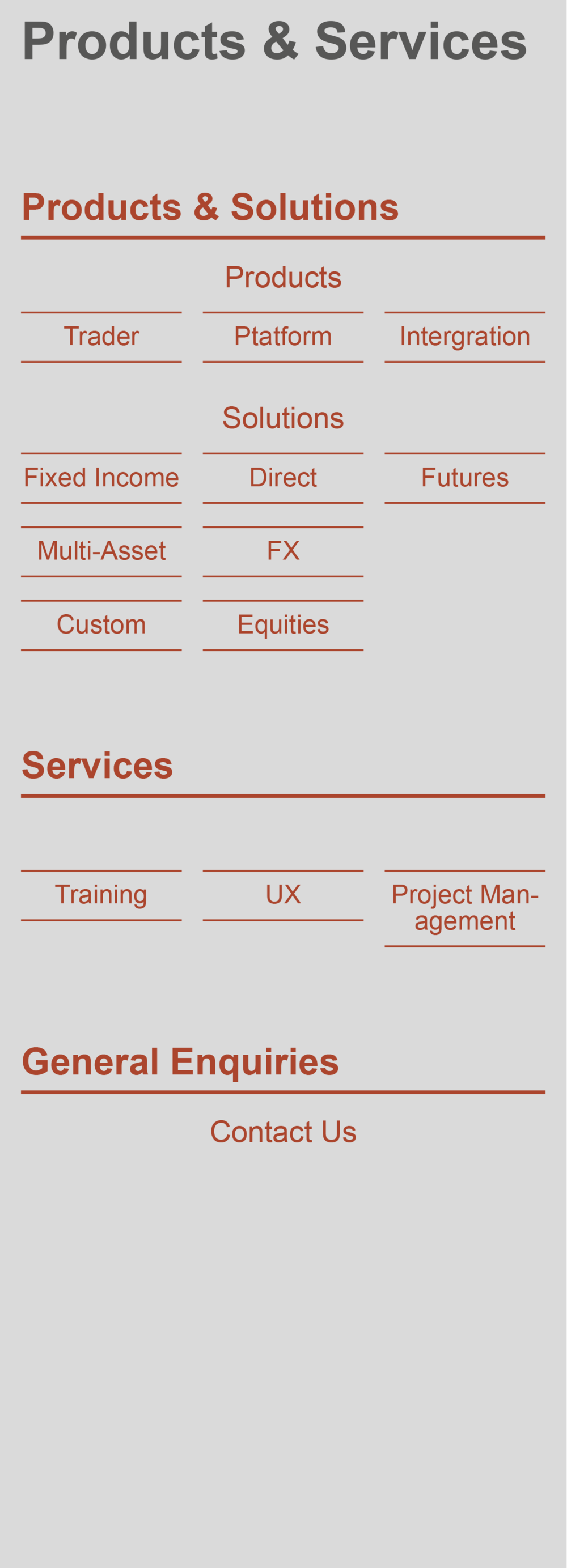 Product page information structure.