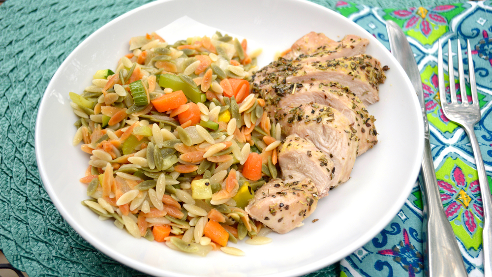 Lemon Herb Chicken with Confetti Orzo Pasta