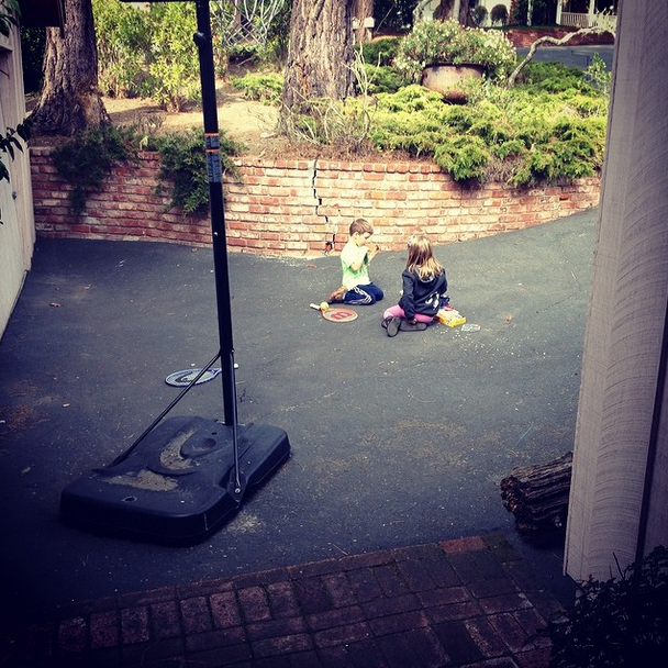 "@laurakay0929 Addycakes is napping, Mommy is unloading groceries and these 2 are outside ""playing tennis"" against the garage door and having a late picnic lunch. I love listening to their sweet conversation! I am so grateful for February Break and a chance to slow down after an incredibly busy 2 weeks!! #bestbuddies #sweetspots"