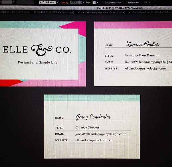 @laurenelizhook Oh just designing business cards and pretending that @jennykayc works with me. A girl can dream. #sweetspots