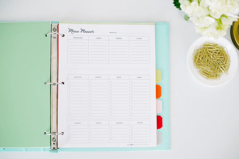 Printable meal planner - plan meals and create a grocery list all on one page! // Elle & Company