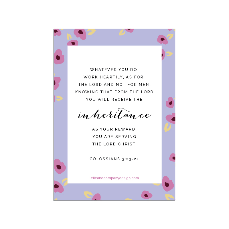 Printable scripture cards from Elle & Company