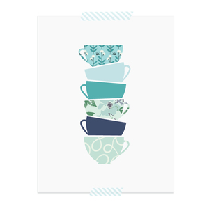 Stacked Tea Cup printable art print  |  Elle & Co.