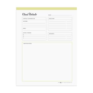 Printable client detail sheet  |  Elle & Co.