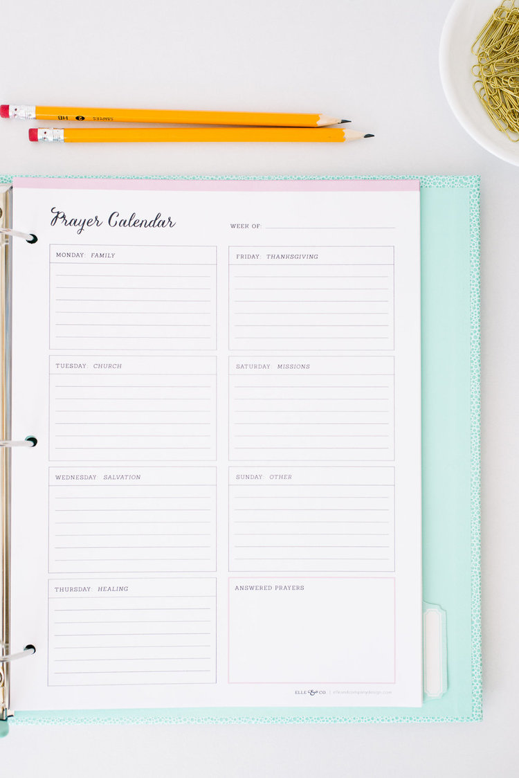 Printable prayer calendar from Elle & Company
