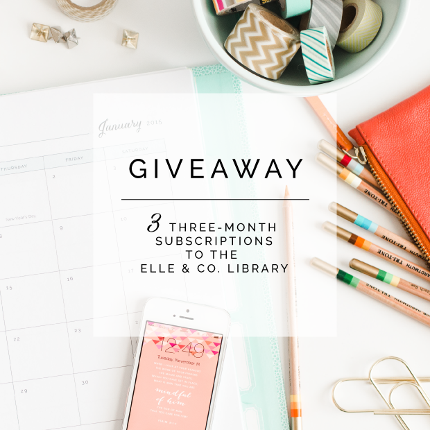 Elle & Company Library Giveaway - 3 free 3-month subscriptions to a whole collection of pretty printables (including a planner!)