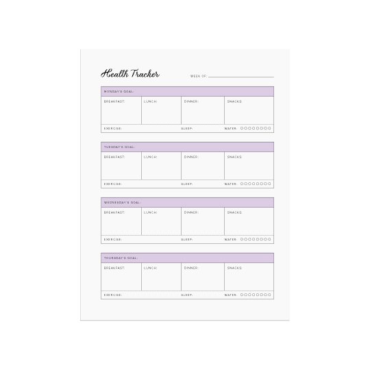 Ellebook Health Tracker printable - Elle & Co.