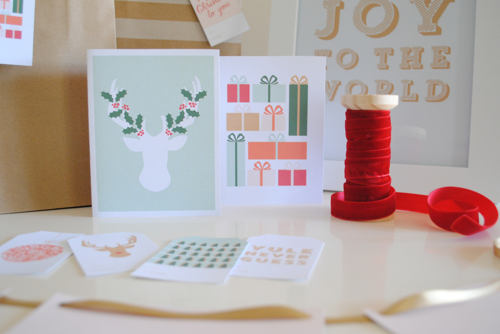 Printable Christmas cards, gift tags, and prints - Elle & Company