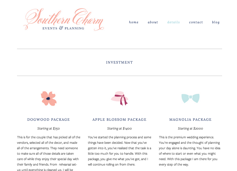 Brand + Website Design for Southern Charm Events & Planning | Elle & Company