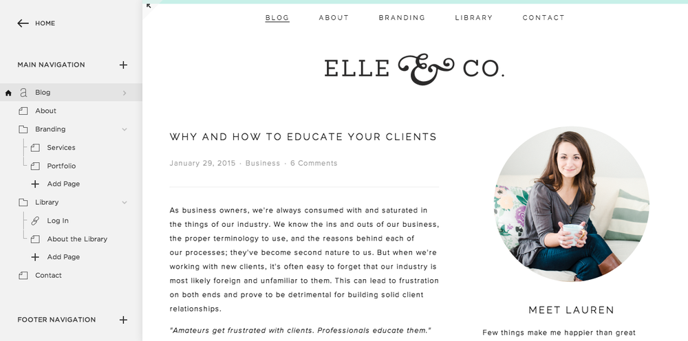 Setting Up Pages & Navigation in Squarespace | Elle & Company
