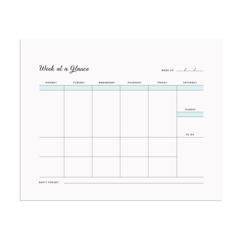 Printable week-at-a-glance chart - Elle & Company