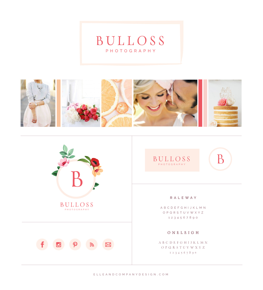 Brand style board for Bulloss Photography - Elle & Company