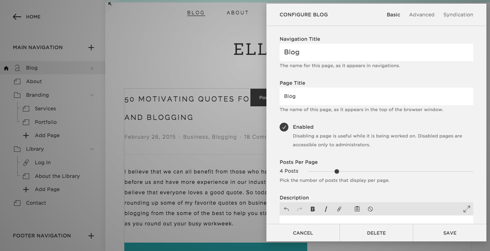 squarespace templates with sidebar - blogging with squarespace