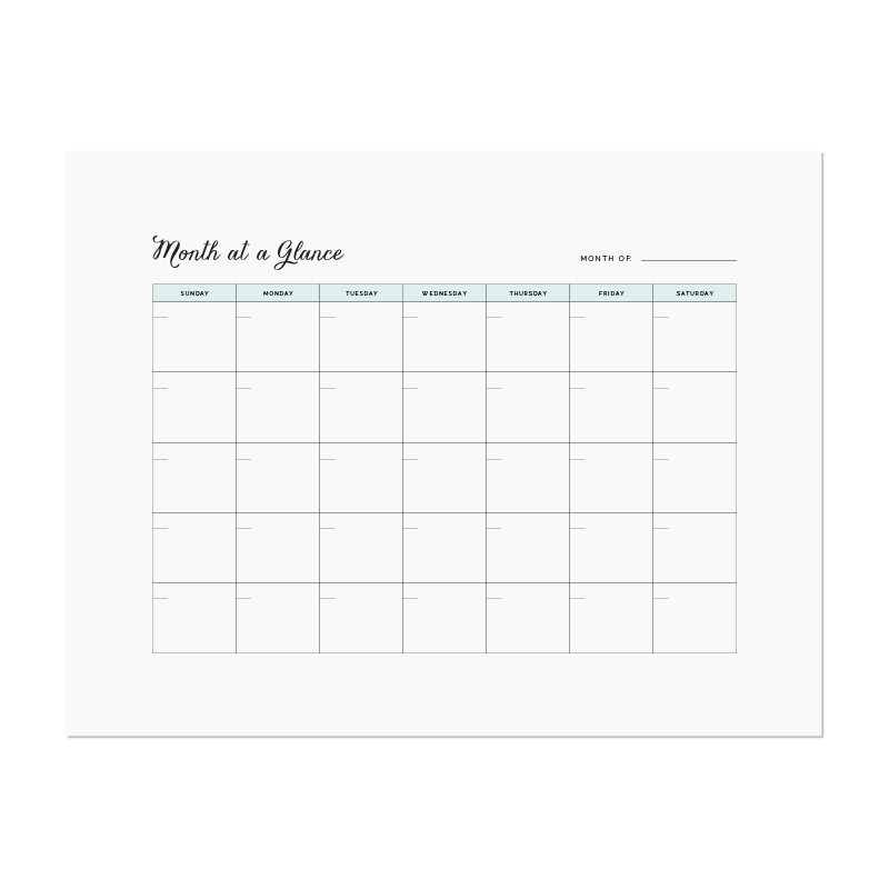 Month at a Glance printable - Elle & Company