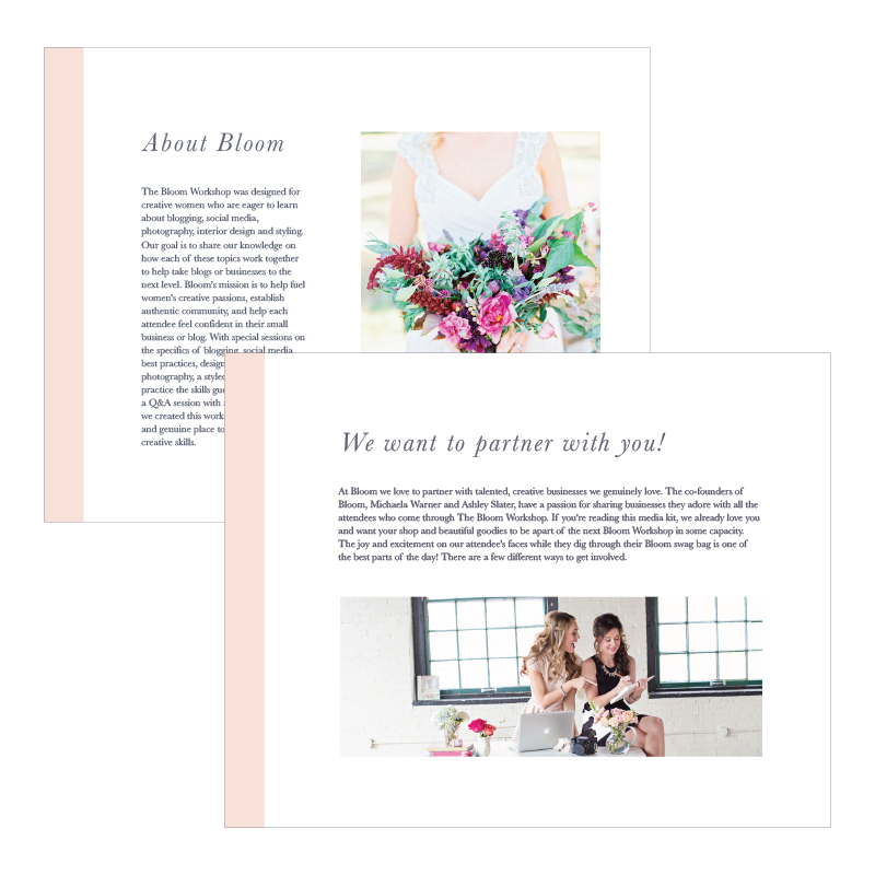 Vendor guide design for The Bloom Workshop - Elle & Company
