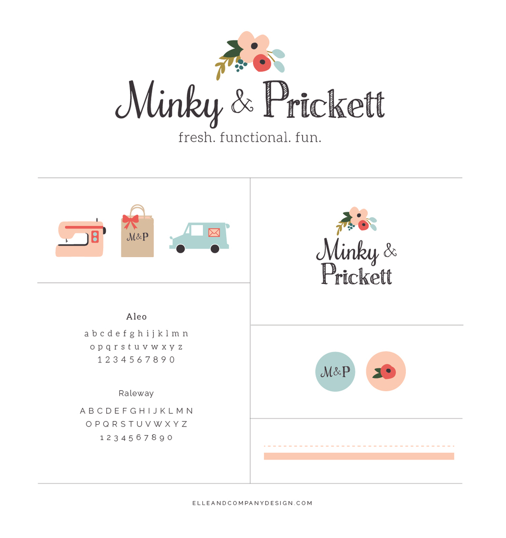 Brand style board for Minky & Prickett - Elle & Company
