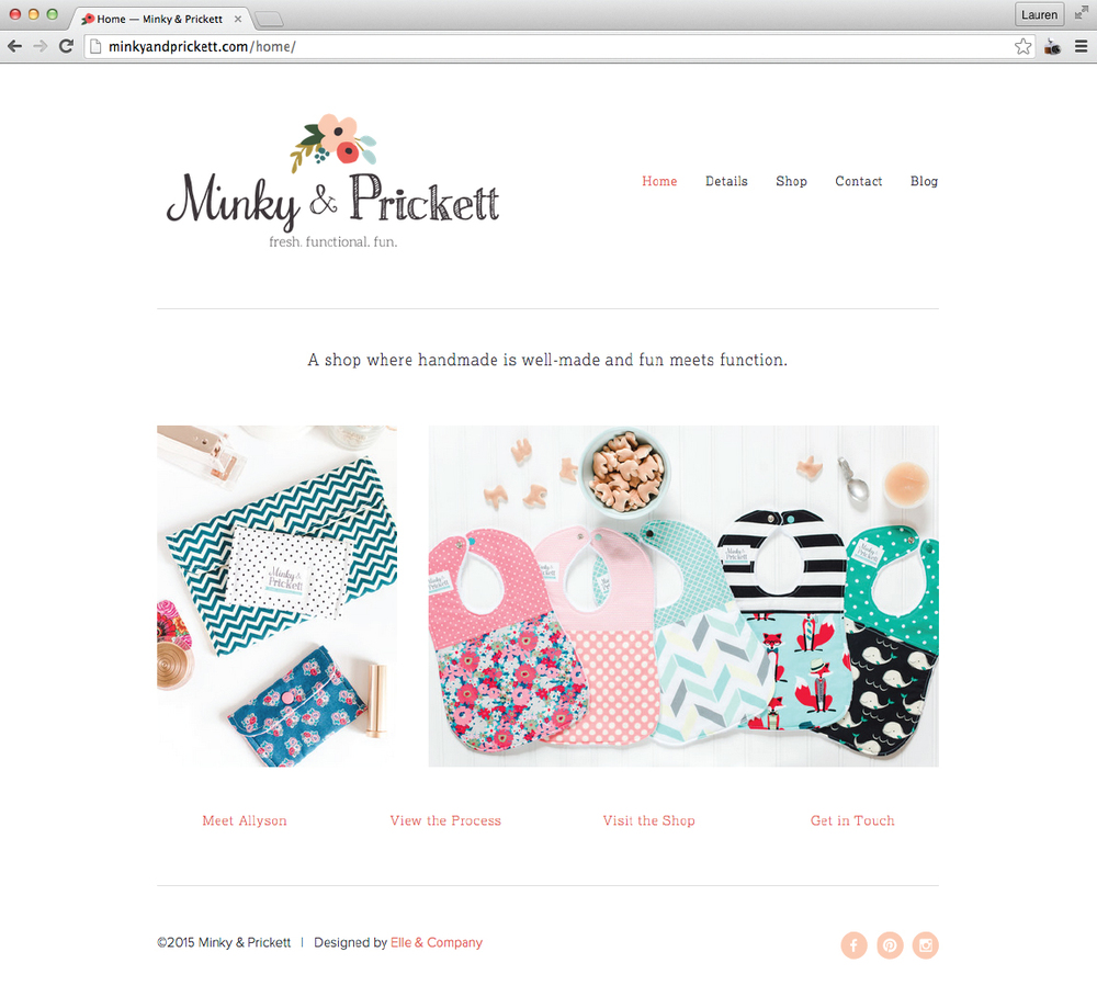 Minky & Prickett website design - Elle & Company