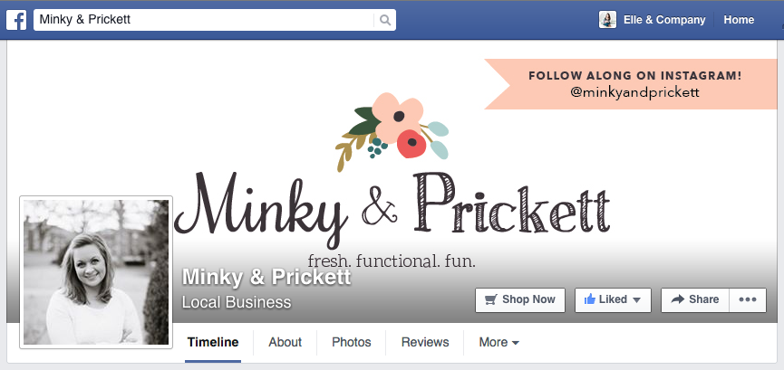Facebook cover image design for Minky & Prickett - Elle & Company