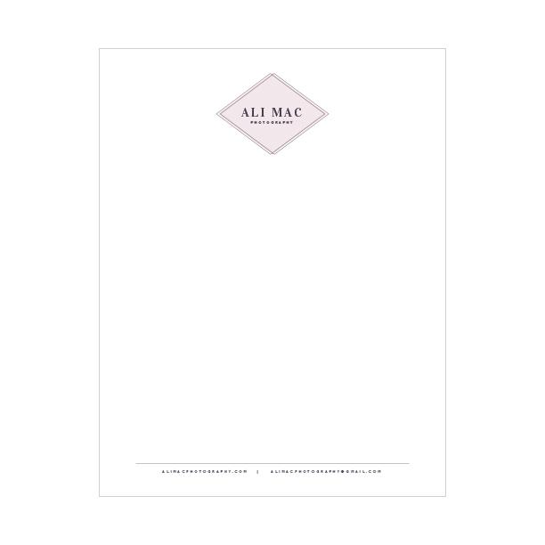 Letterhead design for Ali Mac Photography - Elle & Company