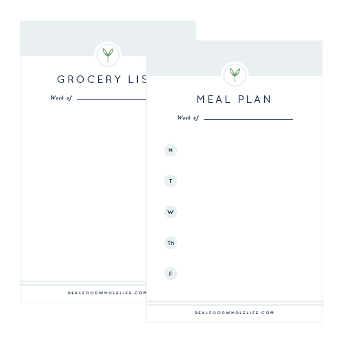 Printable grocery lists and meal plans for Real Food Whole Life - Elle & Company