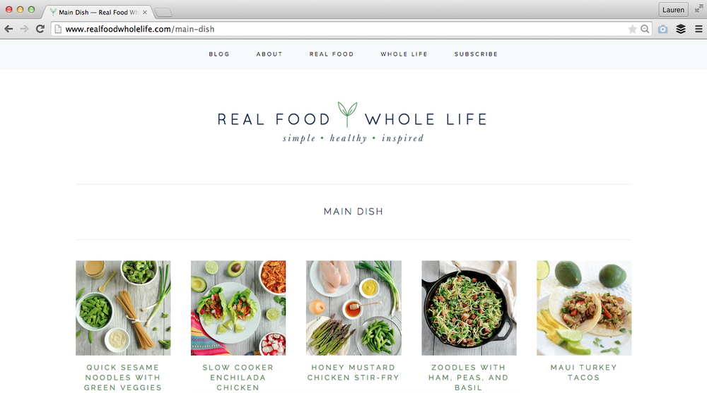New website design for Real Food Whole Life - Elle & Company