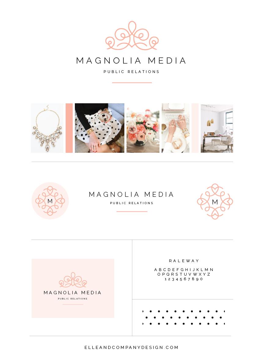 Brand style board for Magnolia Media PR - Elle & Company