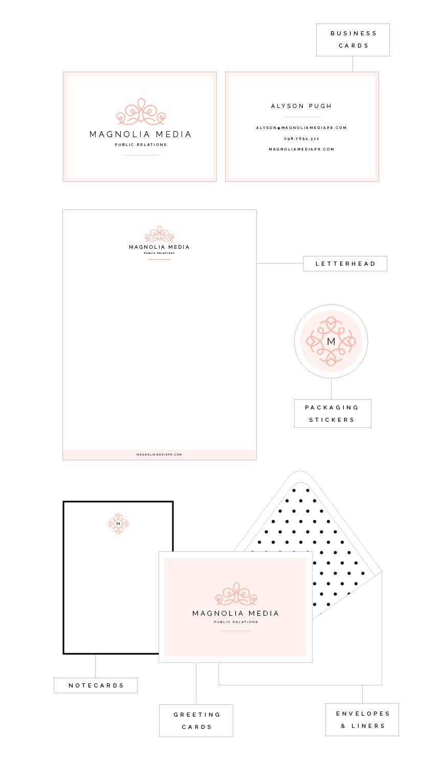 Collateral designs for Magnolia Media PR - Elle & Company
