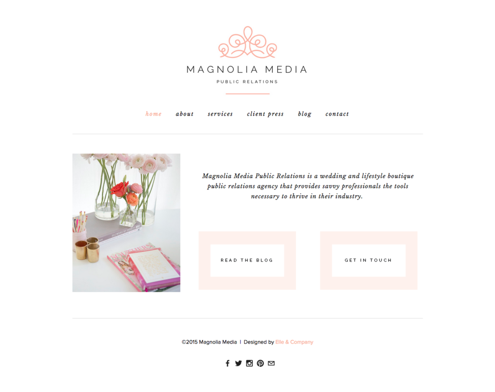 Website design for Magnolia Media PR - Elle & Company