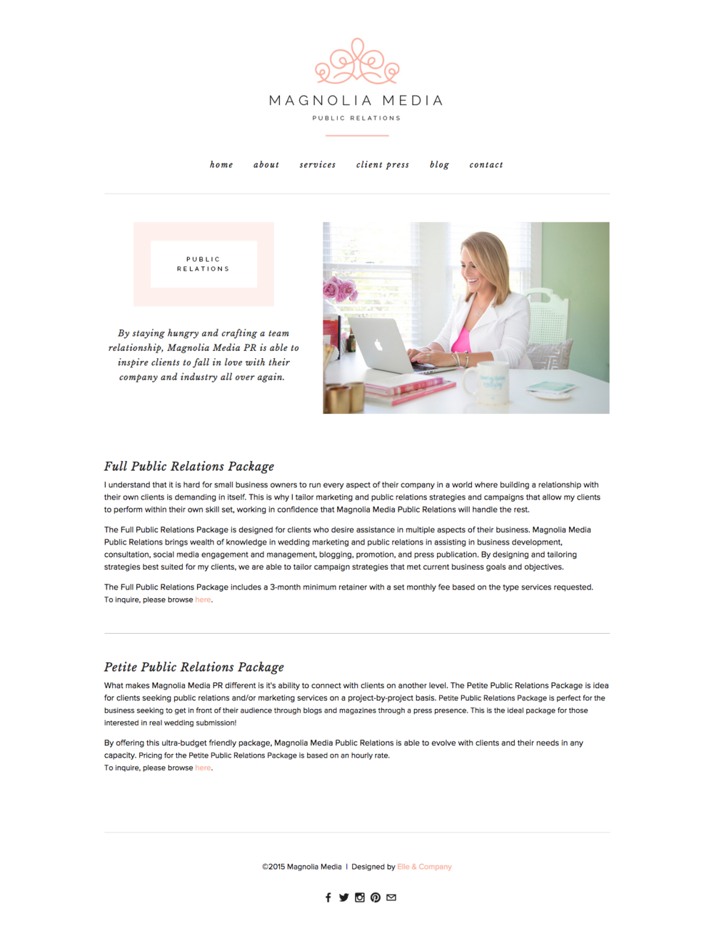 New Brand + Website Launch for Magnolia Media PR | Elle & Company