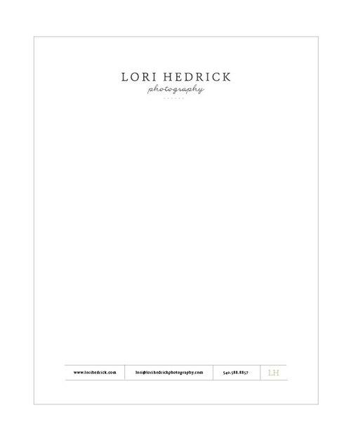 Letterhead for Lori Hedrick Photography - Elle & Company