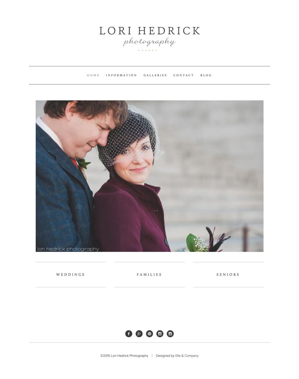Website design for Lori Hedrick Photography - Elle & Company