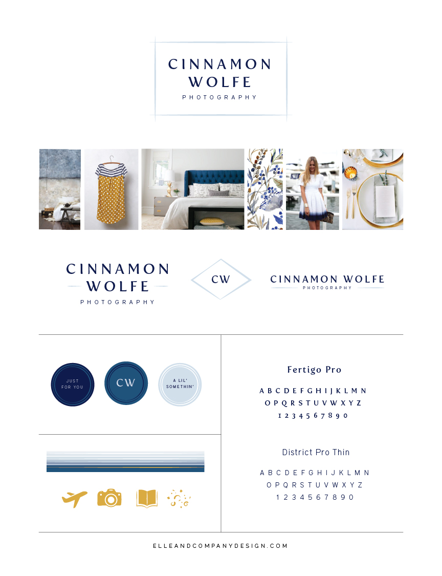 Brand style board for Cinnamon Wolfe Photography - Elle & Company