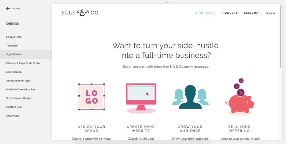 Using the Style Editor to Customize Your Squarespace Site - Elle & Company