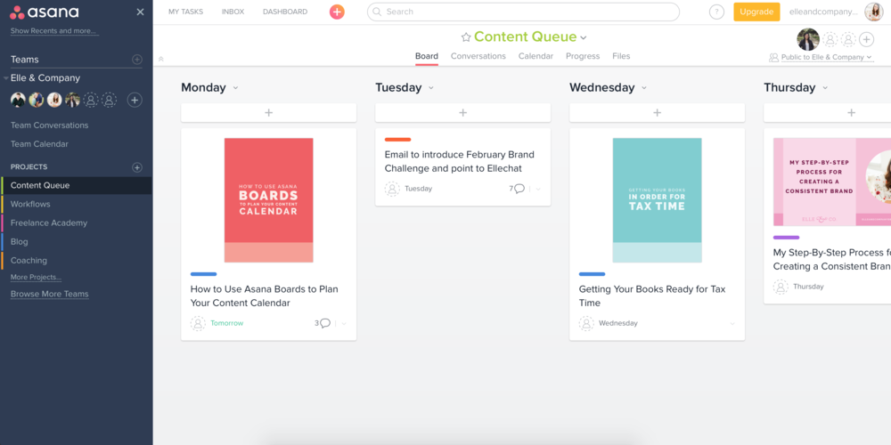 How to Use Asana Boards to Plan Your Content Calendar | Elle & Company