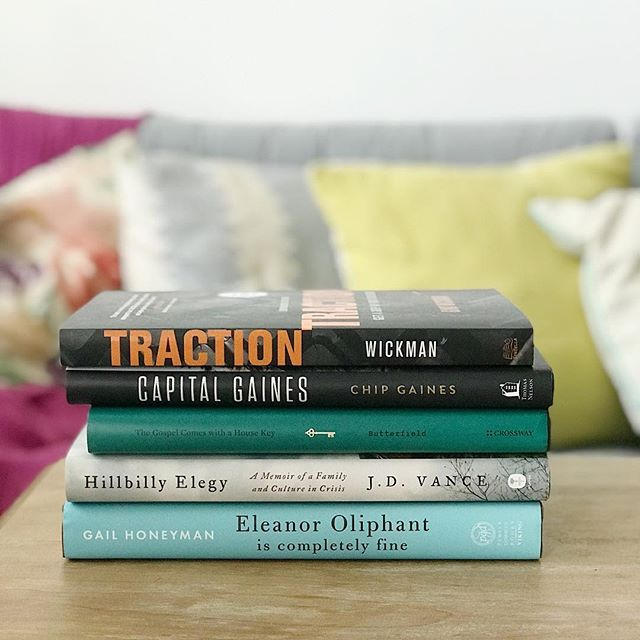 5 on Friday: Books I've read/am reading lately 📚  1. Traction by Gino Wickman - I picked this up after @laracasey mentioned it in an Ellechat. I haven't read it yet, but it's next on my list!  2. Capital Gaines by Chip Gaines - This has been a fun read. I love learning how people got to where they are (especially other business owners), and Chip's story is relatable, hilarious, and insightful. It's also chock-full of business and life lessons that will stick with me long after reading this book.  3. The Gospel Comes With a House Key by Rosaria Butterfield - This book has changed me and challenged my view of hospitality. By far one of the best books I've read in a while!  4. Hillbilly Elegy by J.D. Vance - A sad, humorous, and inspiring look at the life of an Appalachian boy's hard upbringing. If you enjoy autobiographies, pick this one up! It's great.  5. Eleanor Oliphant is completely fine by Gail Honeyman - My best friend passed this book onto me after reading it in her book club. It's also next on my list, but I've heard a lot of good things about it.  Have you read any of these? What 5 books are you reading/have you read lately? #fiveonfriday