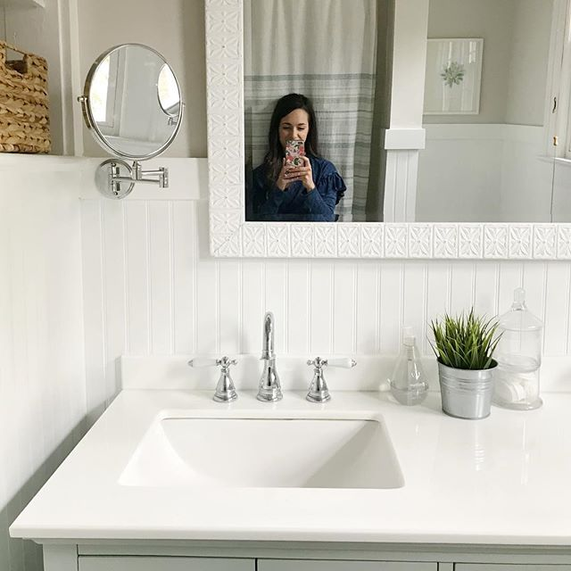 Our full bath was one of the biggest transformations in our house (swipe to see some crazy before and after photos 👉🏼)! The mint green vanity felt a little risky, but it ended up being one of my favorite updates. I'm so happy with how it all came together!