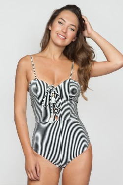 Flynn Skye x Amuse Society - Carmen One Piece in Black Sands Stripes