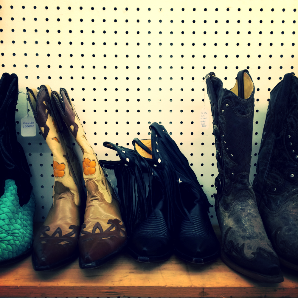 One of my fave vendors at the antique market: oodles of vintage boots.