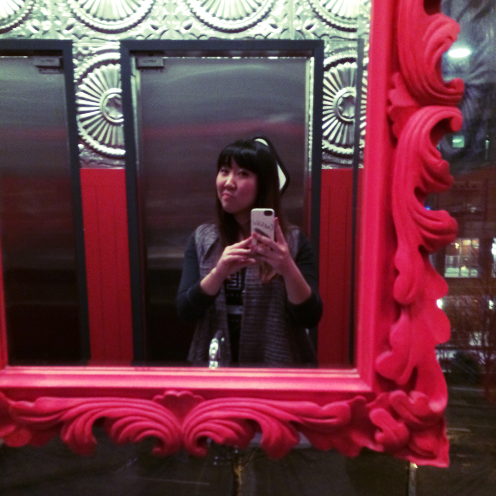 Bathroom mirror selfie: goodbye happy hour.