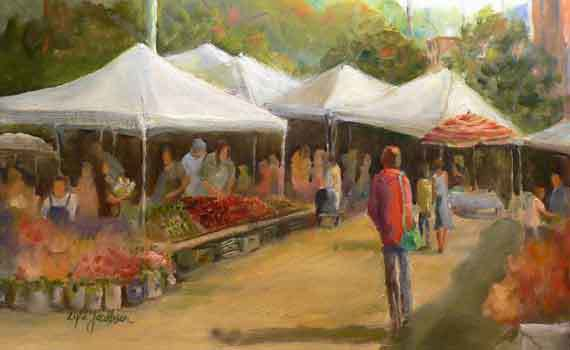 "Original oil painting titled, ""Wednesday Market"" will be auctioned off Monday evening."