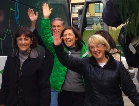 Susan DelBene, Jay Inslee, Maria Cantwell and Patty Murray visiting Kirkland on the 2012 campaign trail.