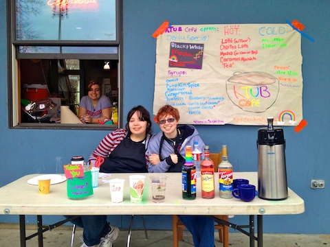 Michelle J., Alex P. and Stella R. operate the KTUB Café overlooking Peter Kirk Park in downtown Kirkland.